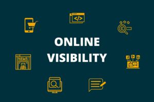 Different elements of online visibility, from organic search results to social media presence and reviews