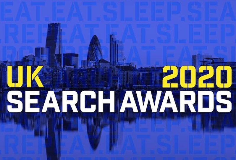 UK Search Awards 2020 logo, featuring the London City skyline in the background.